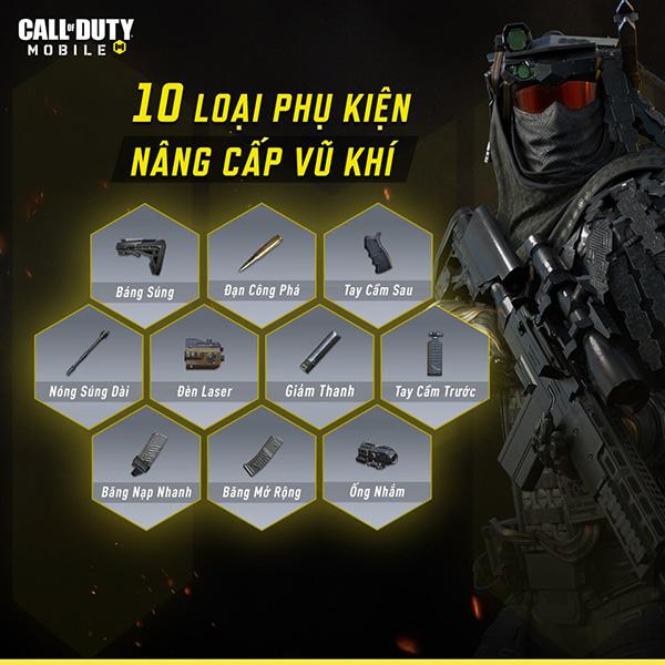 Top 10 loại phụ kiện khi nâng cấp vũ khí Call of Duty Mobile