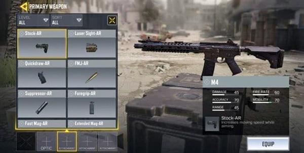 Phụ kiện Stock báng súng trong Call of Duty Mobile